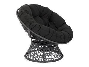 OSP Designs Papasan Chair with 360degree Swivel Black Cushion Frame
