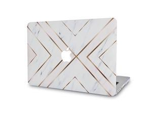 Laptop Case for MacBook Air 11quot A1465 A1370 Rubberized Plastic Hard Shell Cover White Marble Gold Stripes