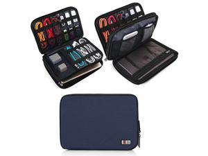 Double Layer Electronic Accessories Organizer Travel Gadget Bag for Cables USB Flash Drive Plug and More Perfect Size Fits for iPad Mini Medium Dark Blue