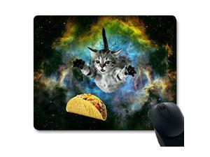 Cat Flying Through Space Reaching for a Taco in Galaxy Space Hilarious Mouse Pad