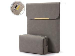 133 inch Laptop Sleeve Case Faux Suede Leather for MacBook Air Pro Retina 20162020 for 13135 Surface Pro 5 6 7 with Pouch for iPad 129 inch + Pencil Grey