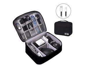 Electronics Organizer  Electronic Accessories Bag Travel Cable Organizer ThreeLayer for iPad Mini Kindle Hard Drives Cables Chargers TwoLayerBlack