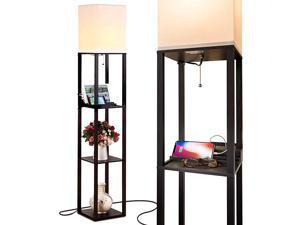 Maxwell Charger Shelf Floor Lamp with USB Charging Ports Electric Outlet Tall Narrow Tower Nightstand for Bedroom Modern Asian End Table with Light Attached Black