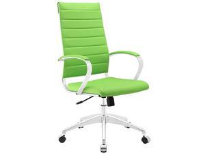 Modway Jive Ribbed High Back Tall Executive Swivel Office Chair With Arms In Bright Green