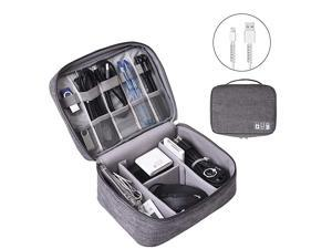 Electronics Organizer  Electronic Accessories Bag Travel Cable Organizer ThreeLayer for iPad Mini Kindle Hard Drives Cables Chargers TwoLayerGrey