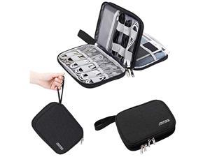 Electronics Organizer Travel Cable Organizer Waterproof Portable Electronics Accessories Case Gadget Bag for 79quot IPad Mini Chargers Cord Phone USB SD CardBlack
