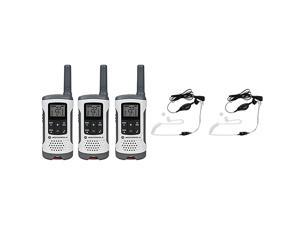 T260TP Talkabout Radio 3 Pack Bundle with 1518 Surveillance Headset with PTT Mic Black White