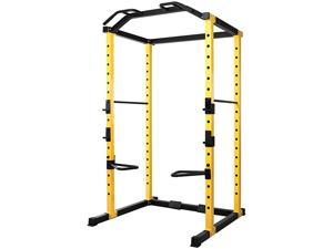 1000Pound Capacity MultiFunction Adjustable Power Cage with JHooks and Dip Bars Power Cage Only Yellow