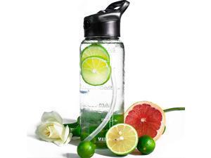 OZ Glass Water Bottle with StrawMotivational Water Bottle with Time Marker1 Liter Glass Water Bottle BPA Free Water Bottles Flip Top Leakproof Sports Water Bottle Wide Mouth Smart Water Bottle