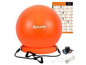 Exercise Ball Chair with Resistance Bands Perfect for Office Yoga Balance Fitness Super Strong Holds 660lbs Set Includes Stable Base Workout Poster Pump Home Gym Bundle65cm Orange