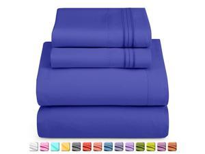 Deep Pocket King Sheets 4 Piece King Size Bed Sheets with Fitted Sheet Flat Sheet Pillow Cases Extra Soft Microfiber Bedsheet Set with Deep Pockets for King Sized Mattress Royal Blue