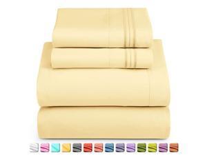 Soft Sheets Set 4 Piece Bed Sheet Set 3Line Design Pillowcases Wrinkle Free Good Fit Deep Pockets Fitted Sheet Warranty Included California King Vinalla Yellow