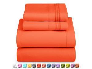 Deep Pocket Split King Sheets 5 Piece Split King Size Bed Sheets with Fitted Sheet Flat Sheet Pillow Cases Extra Soft Bedsheet Set with Deep Pockets for Split King Mattress Orange