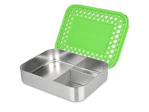 Large Trio Stainless Steel Lunch Container Three Section Design for Sandwich and Two Sides Metal Bento Lunch Box for Kids or Adults EcoFriendly Stainless Lid Green Dots