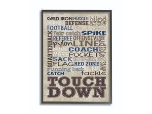 Brown and Navy Football Typog Black Framed Wall Art 16x20 Design by Artist Erica Billups