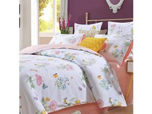 Butterfly Bedding Floral Pink Duvet Cover King 3 Pcs Princess Bedding Morning Glory 100 Egyptian Cotton 800 Thread Count Hypoallergenic