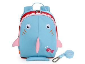 Upgraded Kids Insulated Toddler Backpack with Safety Harness Leash and Name Label Playful Preschool Kids Lunch Bag Shark