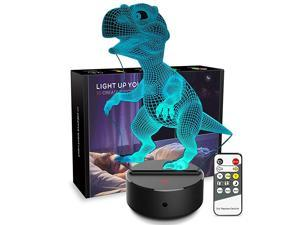 Light 3D Dinosaur 3D Lamp Optical Illusion Kids Light Animals 7 Colors Change LED Touch Table Desk Lamps with Remote for Boys Girls Bedroom Birthday Gifts Dinosaur