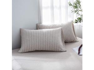 100 Jersey Cotton Pillowcase Queen Pillowcase Set of 2 Super Soft and Breathable Queen Light CoffeeOff White Stripes