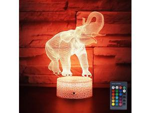 Elephant Lamp Gift 16 Colors Desk Table Night Light for Kids Party Supplies Birthday Valentines Day Lover Boy Girl Elephant Shape