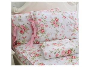 Cotton Bed Sheets Set Shabby Rose Floral Print Sheet Bedding 4Piece Twin Size