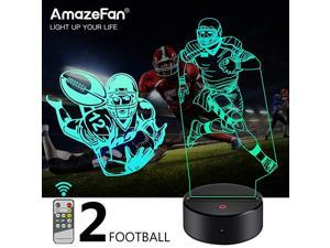 FootballSoccer Night Light for Kids 3D Rugby Night Lamp 7 Colors Optical Illusion Touch amp Remote Control with 2 Acrylic Flats Best Birthday Christmas New Year Gifts for Boys Girls Baby