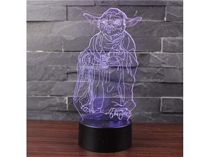 3D Illusion LED Night Light Table Desk Lamp 7 Colors Gradual Changing Touch with USB Cable for Home Decoration or Childrens Gifts Master Yoda