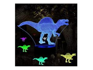 Lights for Kids Illusion Dinosaur Toy Birthday Gifts Optical Desk Lamp Table Touch Walking Animal Light Party Western Children Room Decor Bedroom Nursery 7 Color Changing USB Spinosaurus