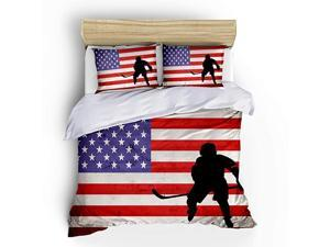 Ice Hockey Sports Bedding Sets Queen Size3 Piece American Flag Duvet Cover Sets with Pillowcases for Teens Boys Girls Bedroom DecorNO Comforter