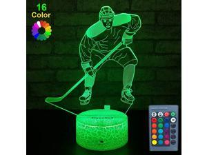 Kids Ice Hockey GiftsIce Hockey Toys 16 Color Changing Kids Night Light with Touch and Remote Control Mens Ice Hockey Decor Light Birthday for Kids Boys Baby