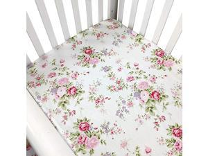 Crib Sheets Girl Fitted Crib Sheets Floral Portable Crib Mattress Topper for Baby Girls 100 Soft Breathable Cotton Pink