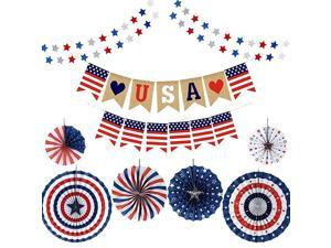 Fourth of July Patriotic Decorations Red White Blue Hanging Paper Fans Star Streamer Garland and USA Bunting Banner Swallowtail Flags Veterans Day Decoration Set