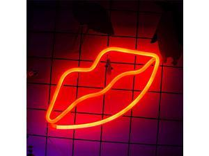 Lip Sign Red Battery Powered Light LED Lights Table DecorationGirls Bedroom Wall DécorKids Birthday GiftWedding Party Supplies Signs