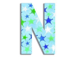 Home Décor Blue Distressed Stars 18 Inch Hanging Wooden Initial 12 x 05 x 18 Proudly Made in USA