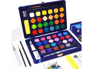 Paints Set 48 Solid Assorted Paints Half Pans with Watercolor Brush Pen + 8 Extra Bonuses Travel Watercolor Kit Portable for Artists Students Kids