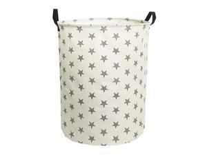 Laundry HamperCollapsible Canvas Waterproof Storage Bin for Kids Nursery HamperGift BasketsHome Organizer Grey Star