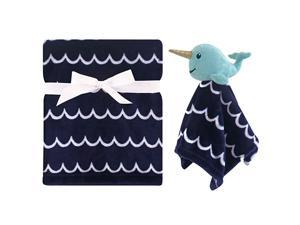 Unisex Baby Plush Blanket with Security Blanket Boy Narwhal One Size