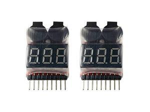 2 Pack Lipo Battery Voltage Checker Alarm LED 18 Cell 1655