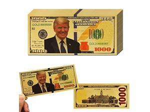 10Pack Donald Trump 1000 Dollar Bill Banknote One Thousnd 24k Gold Coated Donald Trump Legacy Limited Edition Million Dollar Bill Great Gift for Coin Currency Collectors and Republican