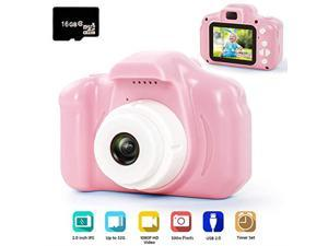 Digital Camera for Kids 1080P FHD Kids Digital Video Camera Camcorder for 310 Years Girls Gift with 16GB SD Card 2 Inch IPS Screen Pink