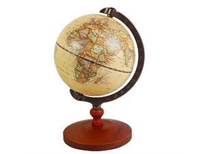 5 inch Diameter Brown World Globe Antique Decorative Desktop Globe Rotating Earth Geography Globe Wooden Base Educational Globe Wedding School Children Gift Brown with Wood Base