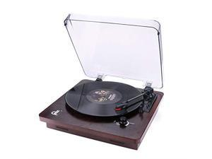 Record Player Vintage Phonograph Turntable with Builtin Stereo Speakers Support PC RecordingRCA OutputWood