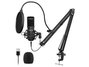 USB Streaming Podcast PC Microphone  professional 192KHZ24Bit Studio Cardioid Condenser Mic Kit with sound card Boom Arm Shock Mount Pop Filter for Skype YouTuber Karaoke Gaming Recording