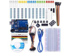 UNO Starter Kit for Arduino with Free Tutorials UNO R3 Board Breadboard Sensor USB Cable Display Resistors Jumper Wires and Dupont Wires Arduino Starter Kit