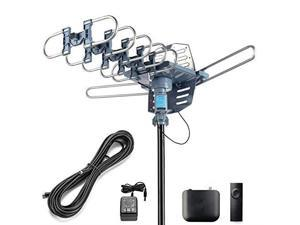 Digital Outdoor Amplified HD TV Antenna Motorized 360 Degree Rotation 150 Miles with 40FT RG6 Coax Cable SnapOn Installation UHFVHF1080P4K