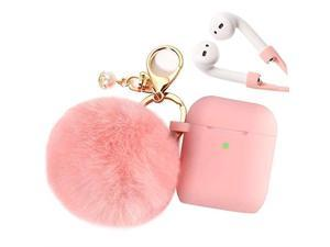 Airpods Case  Airpod Case Cover for Apple Airpods 21 Charging Case Cute Pink Air Pods Silicone Protective Case with Airpod Accessories KeychainSkinPompomStrap 2019 Autumn New Pink