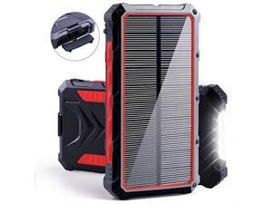 Solar Power Bank  20000mAh Portable Solar Charger with Dual USB 3A Output PortLED Light and External Battery Pack Solar Phone Charger Fast Charging for Smartphone and More Red