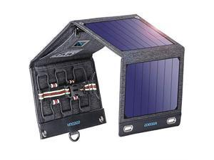 SolarCharger16W SolarPanelCharger Foldable Solar Panel Portable with Dual USB Ports DisplayFunction Waterproof OutdoorPortable Solar Charger Camping Travel for Cellphone Camera etc