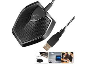 DriverFree USB Desktop Computer Microphone Touch Mute Button with LED Indicator Omnidirectional Condenser Boundary Conference Mic for Recording Streaming Gaming Skype WindowsMac