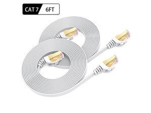 Ethernet Cable 6 Feet 2Pack High Speed Flat Internet Network Computer Patch Cord Faster Than Cat6 Cat5e Lan Wire Shielded RJ45 Connectors for Router Modem Xbox Printer White